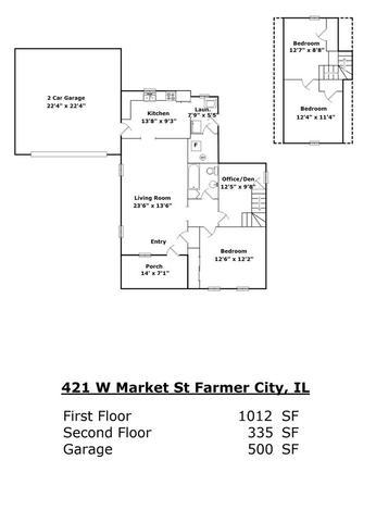 421 West Market, FARMER CITY, Illinois, 61842