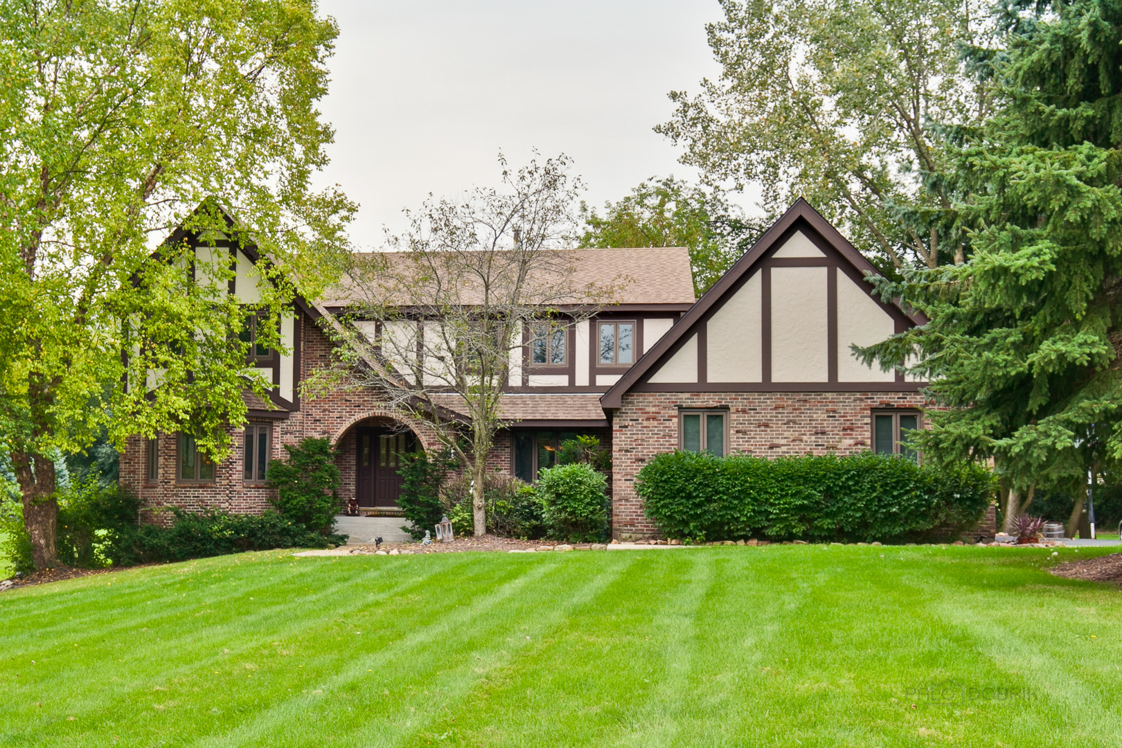 The perfect mix of fresh design & tradition! So much to enjoy inside & out with tons of fresh updates including a new roof! Impressive Tudor facade welcomes you w/ sloped roof & arched entry detail into the foyer, flanked by the separate dining room & living room w/ bay window seat & built-in desk area. Inviting family room w/ floor-to-ceiling stone gas fireplace. Updated eat-in kitchen w/ tumbled marble backsplash, built-in fridge, stainless steel appliances, island & gleaming granite counters. Upstairs, the luxurious master suite has a huge walk-in closet & an updated ensuite bath w/ dual quartz vanity, whirlpool tub & separate custom tile shower. Three more spacious bedrooms share a full bath w/ dual quartz vanity & tile shower/tub combo. Relax & entertain in the finished basement w/ rec room ft. fireplace & oak bar, media room & exercise room. Full basement bath w/ separate shower. Enjoy 1.8 acres of rolling lawn, huge deck & your own in-ground pool w/ slide! Renowned District 125!